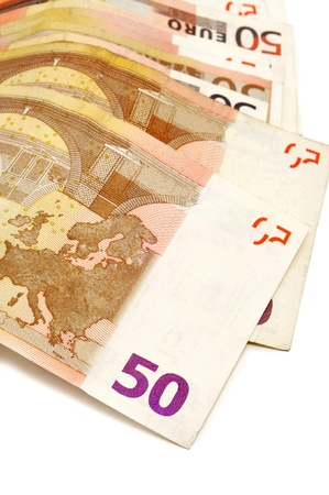 a pile of 50 euros bills on a white background Stock Photo - 9594208