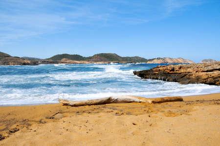 view of Cala Pregonda beach in Menorca, Balearic Islands, Spain photo