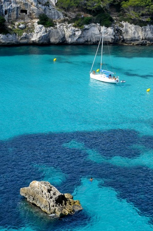 mediterranean: boat in a beach in Menorca, Balearic Islands, Spain