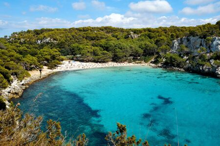 view of Macarella beach in Menorca, Balearic Islands, Spain photo