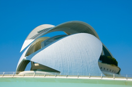 sciences: Valencia, Spain - March 17, 2010: Queen Sofia Palace of the Arts in The City of Arts and Sciences in Valencia, Spain. This futuristic opera house, designed by the famous architect Santiago Calatrava, was opened in 2005