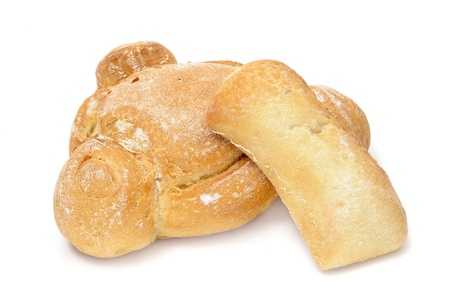 three cornered: different catalan bread loaves on a white background Stock Photo