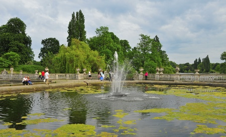 hectares: London, United Kingdom - May 7, 2011: Hyde Park in London, United Kingdom. Hyde Park, with 142 hectares (350 acres), is one of the largest parks in central London. Editorial