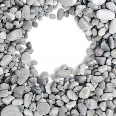 add text: a pile of pebbles on a white background as a frame