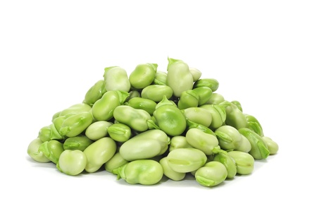green beans: close up of some broad beans on a white background Stock Photo
