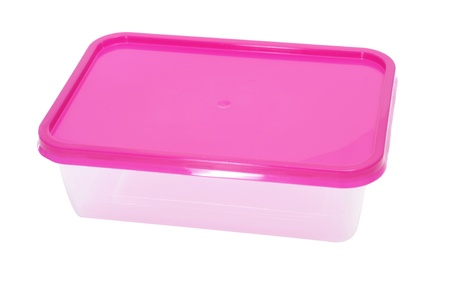 out to lunch: a plastic container on a white background Stock Photo