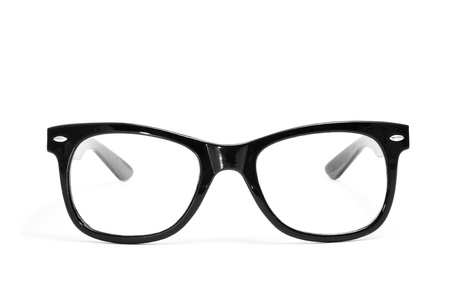wearing spectacles: black glasses on a white background