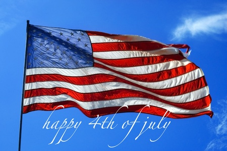 declaration: happy 4th of July with an american flag weaving on a blue sky