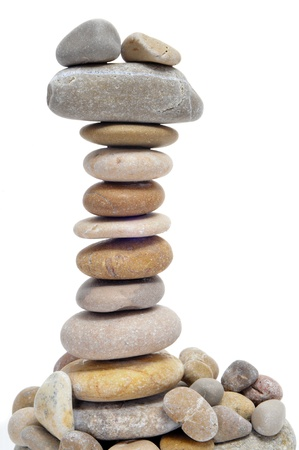 a pile of zen stones on a white background Stock Photo - 9729202
