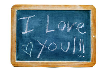 I love you written in a blackboard on a white background photo