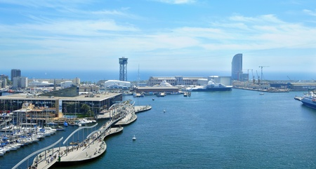 Barcelona, Spain - May 10, 2010: Port Vell and Maremagnum in Barcelona, Spain. 16 million people visit the complex each year.