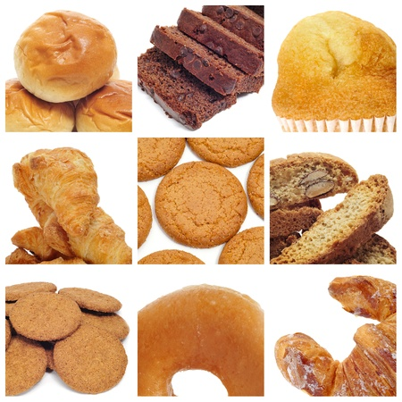 a collage of nine pictures of different kind of biscuits and pastries Stock Photo - 9729249