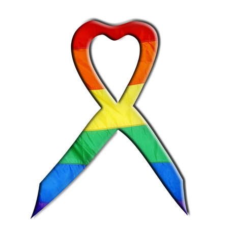 a ribbon with rainbow flag on a white background Stock Photo - 9729258