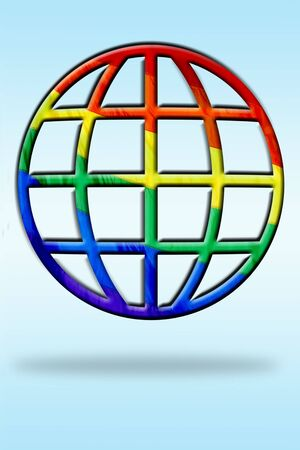 rainbow flag: a world sign with rainbow flag symbolizing gay world Stock Photo