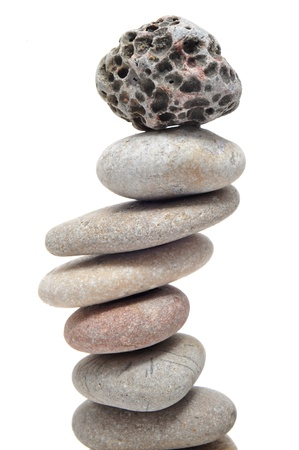 a pile of zen stones on a white background Stock Photo - 9889033