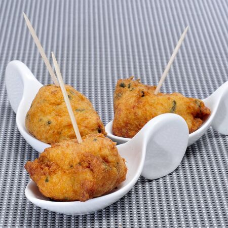 fritters: a few cod fritters served as spanish tapas Stock Photo