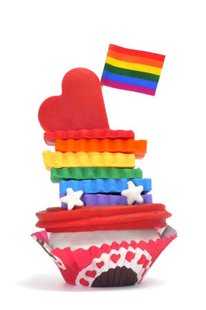 modelling clay: cupcake made with modeling clay with the colors of the rainbow and a rainbow flag