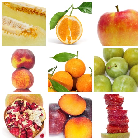 antioxidant: a collage of nine pictures of different fruits Stock Photo