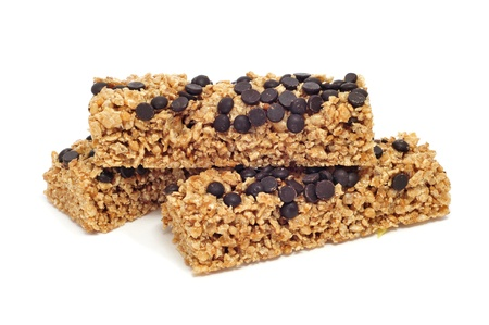 some cereal bars on a white background photo