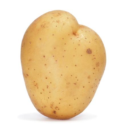 papas: detalle de una patata sobre un fondo blanco