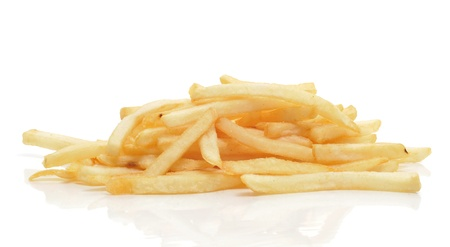french fried potato: a pile of french fries on a white background Stock Photo