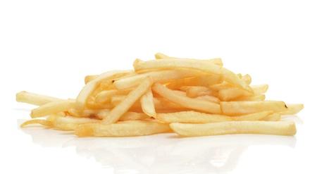 fries: un mont�n de papas fritas sobre un fondo blanco Foto de archivo
