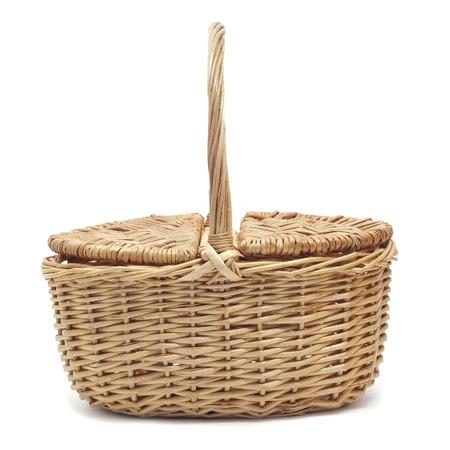 wickerwork: a wicker basket on a white background