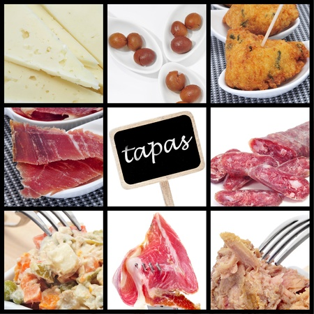 jamon: a collage of nine pictures of different spanish tapas Stock Photo