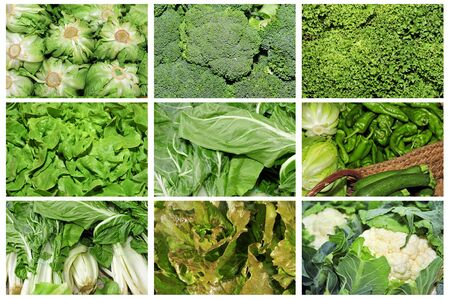 a collage of nine pictures of different vegetables Stock Photo - 10002814