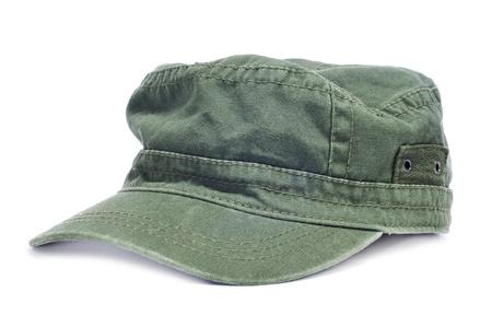 insolación: una gorra verde aislada sobre fondo blanco Foto de archivo