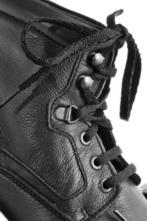 leatherette: closeup of a casual black leatherette boot