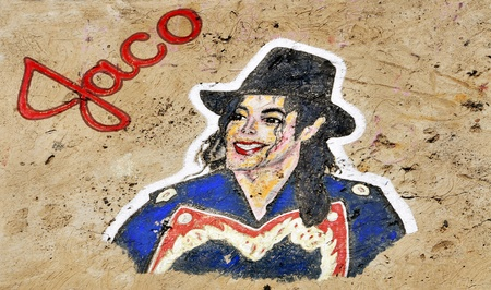 Santa Cruz de Tenerife, Spain - June18, 2011: A Michael Jackson graffiti on a stone of a breakwater in Santa Cruz de Tenerife, Spain. It tributes to the King of Pop, died on June 25, 2009. Editorial