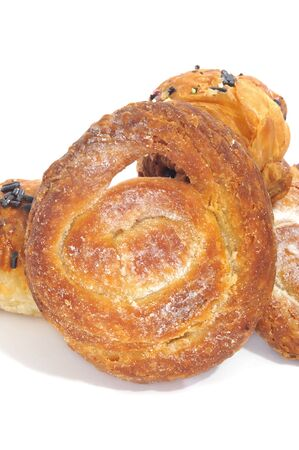 puff pastry: closeup of some pastries, as chocolate croissants and ensaimadas