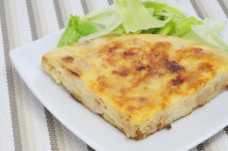 closeup of a typical spanish tortilla de patatas photo