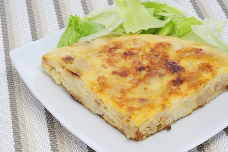 closeup of a typical spanish tortilla de patatas photo