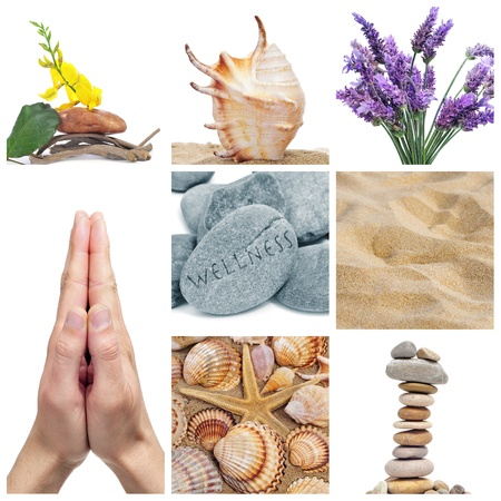 karesansui: a collage of nine pictures of different images of wellness