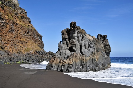 A view of the volcanic Bollullo Beach in Tenerife, Canary Islands, Spain photo