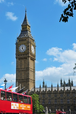 London, United Kingdom -  May 9, 2011: Big Ben and Westminster Palace in London, UK. The Big Ben tower, with 96.3 metres high, is the most important attraction of London Stock Photo - 10007379