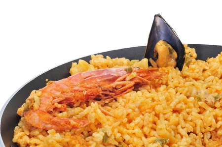 spanish tapas: closeup of a typical paella from Spain
