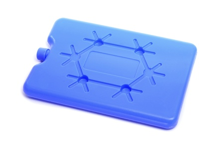 ice chest: a blue ice pack on a white background