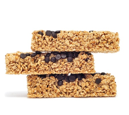 granola bar: a pile of cereal bars on a white background