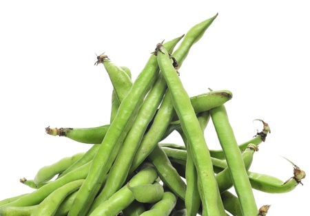 runner bean: a pile of french beans on a white background