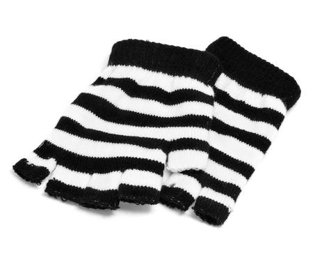 fingerless gloves: a pair of striped fingerless gloves on a white background