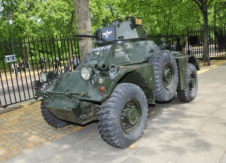 barracks: London, United Kingdom - May 6, 2011: Armoured car outside of Guards Museum in London, UK. It is located in Wellington Barracks close to Buckingham Palace, which is the home of the five regiments of Foot Guards Editorial