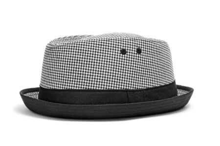 fedora hat: a checkered hat on a white background