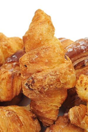 closeup of some croissants on a white background Stock Photo - 10072393