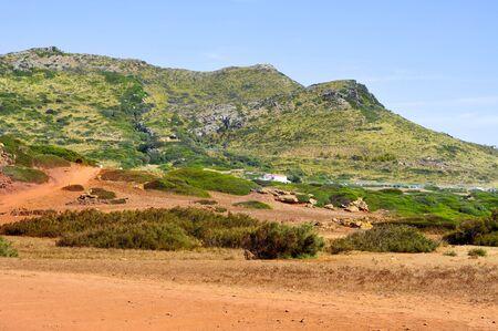 pla: Es Pla Vermell and Binimela coast in Menorca, Balearic Islands, Spain Stock Photo