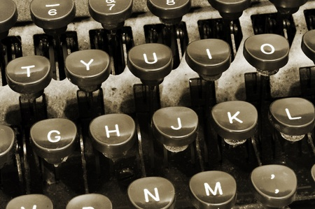 type writer: closeup of a keyboard of an ancient typewriter