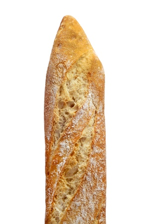 italian bread: closeup of a baguette on a white background