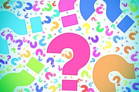 interrogative: interrogaci�n de diferentes colores sobre un fondo blanco